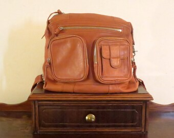 Convertible Unisex Backpack Or Messenger Bag In Beautiful Cognac Leather With Silver Tone Hardware- VGC