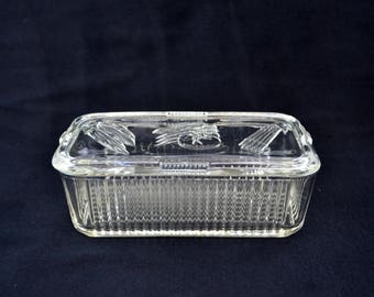 Vintage Federal Glass Rectangle Refrigerator Dish With It's Cover