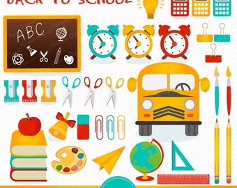 80% OFF SALE Back to school clipart, school clipart, bus clipart, pencil clipart, clipart images, commercial use - CA168