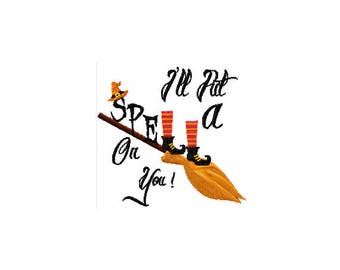 Witch Embroidery Design - Spell Embroidery Design - Halloween Embroidery Design - Halloween Witch Embroidery Design - Kids Halloween Saying