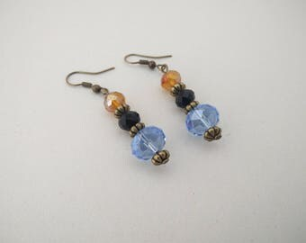 Blue, black & orange/gold crystal dangling/drop earrings, gifts for her, gift ideas, jewellery gifts, Valentine's gifts, birthday gifts