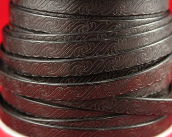 "MADE in EUROPE 24"" flat leather cord, embossed 10mm dark brown leather cord, genuine leather cord (499/10/02)"