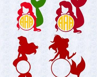 Mermaid monogram SVG, Mermaid dxf, monogram clipart, cut file cricut, silhouette cameo, vinyl cut