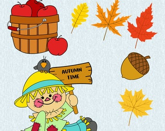 Autumn leaves, basket with apples,scarecrow SVG,DXF,studio file, autumn set, fall set, autumn leaves, cut file, cricut, silhouette cameo