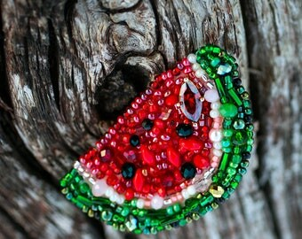 Watermelon Brooch Fruit Brooch Beaded Embroidered Brooch Crystal Jewelry Brooch Summer Party Jewelry Tropical Jewelry