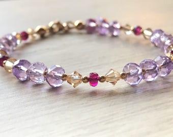 Amethyst bracelet, pink amethyst crystal bracelet, February birthstone bracelet, Vanlentine's gift