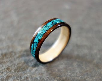 Hand Crafted Wooden Ring with Chrysocolla Inlay