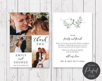 Wedding Thank Your Card with 3 Photos, Free Colour Changes, Organic Watercolour Leaf, Professionally Printed - Peach Perfect Australia
