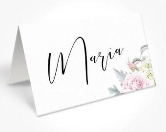 Wedding Placecards, Print Floral, Modern Font Dinner Place Cards, Place Cards, Gemma Suite, DEPOSIT | Peach Perfect Australia