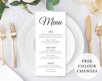 Wedding Menu, Custom Printable Menu, Black and White, Free Colour Changes, DIY Wedding, Print Your Own, Rustic Kraft, Timeless Suite
