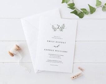 Digital Wedding Invitation, Printable or Professionally Printed, Organic Leaf, Digital Invites, Monogram Invitation, Natural Suite