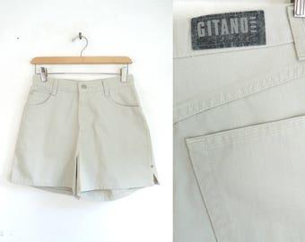 """high waist jean shorts 90s beige jean shorts denim short shorts 1990s gitano jean booty shorts womens denim shorts small 28"""" waist shorts"""