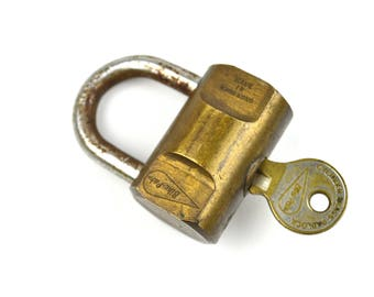 Vintage Bike Lock Cylinder Brass Padlock Bike Pak Bicycle Lock with Key
