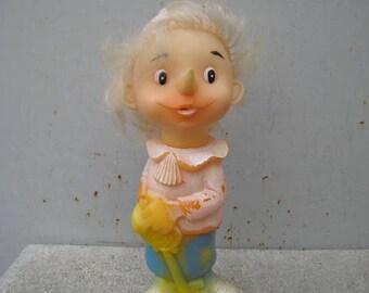 Buratino with golden key rubber doll USSR,  Burattini, Soviet vintage toy Pinocchio