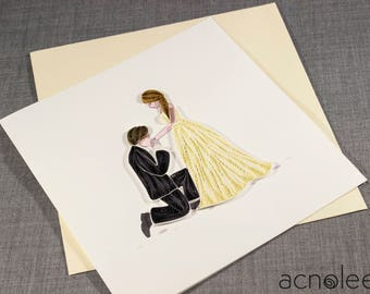 Quilled Bride and Groom Wedding Card