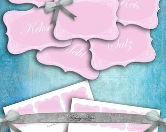 Küchen Label..Pantry Labels, Jar Labels kitchen, instant download, printable ,collage sheet, 9cm +6 cm, 3,5x2,4 zoll,rosa, versch. designs