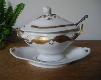 Antique French Mustard Pot with lid and spoon/shabby chic / 19th/ french antique / doll tureen