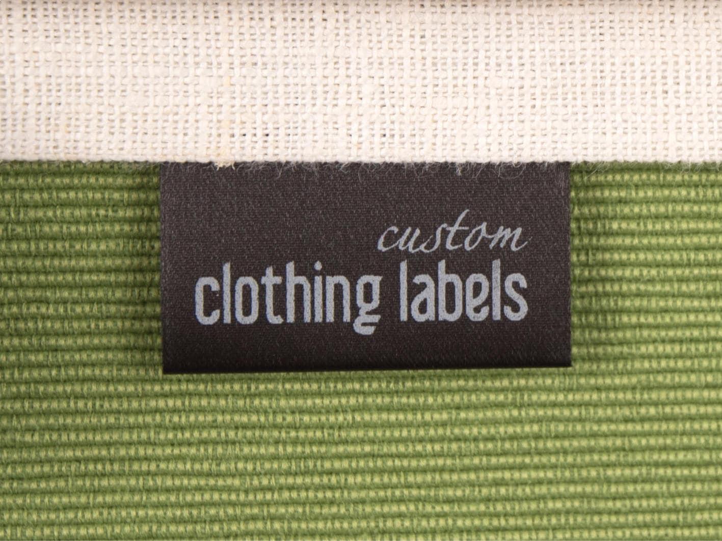 150 custom sew in labels black fabric labels satin garment