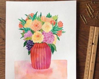 8x10 ORIGINAL watercolor/Roses in Pink Stripe vase