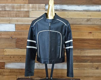 Vintage rocker leather coat Black and white Short coat Rocker Bicker jacquet Medium size