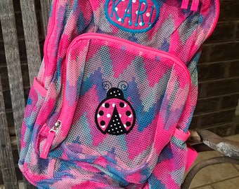 Ladybug Backpack | Mesh Backpack | Monogrammed Backpack | Girls Bookbag | Clear Backpack | Back to School | Personalized Backpack | Bookbag