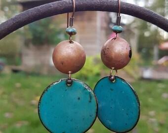 Boucles d'oreilles turquoises et cuivrées