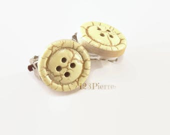 Small button stud earring, wood sewing - several colors to choose from-Clips or studs - 123Pierres jewelry earrings
