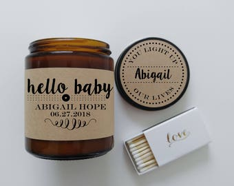 New Baby Gift Personalized New Mom Gift Candle Gift Hello Baby Shower Gift Candle Scented Candle Baby Girl Baby Boy Personalized Baby Gift