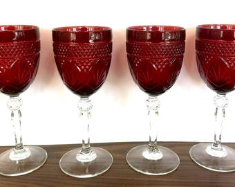 Antique Ruby (4) Goblets by CRISTAL D'ARQUES-DURAND