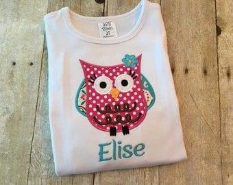 Owl shirt girls - owl bodysuit - Girls owl outfit - Owl Birthday shirt - Personalized girls shirt - Custom girls outfit - Girly owl