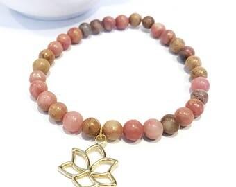 rhodonite bracelet, gold lotus bracelet, rhodonite jewelry, pink beaded bracelet, beaded gemstone bracelets, natural stone bead bracelets