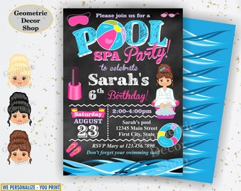 Spa POOL PARTY Invitation, Spa, Pool Party, Pool Bash, Birthday Invitation, Birthday Invite, Girl Swimming Pink Purple Blue Chalkboard BDP24