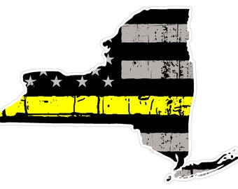 New York State (E33) Thin Yellow Line Dispatch Vinyl Decal Sticker Car/Truck Laptop/Netbook Window