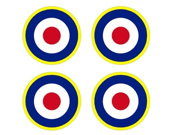 "Set of 4 Remote Control (RC9) Yellow Red Blue White RAF Roundels 2 3/4"" RC Airplane Sticker Decal"