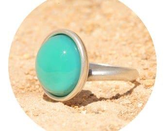 Powdered turquoise artjany ring