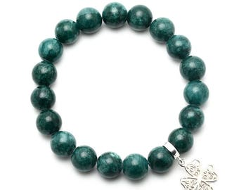Jade Beaded Bracelet with Sterling Silver Charm, Unique only 1 piece available! , color green, #45700