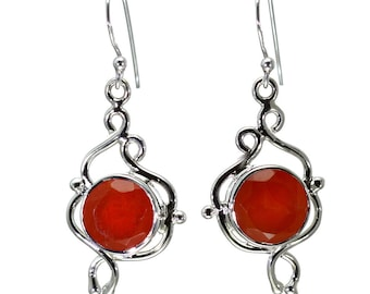 Carnelian Earrings, 925 Sterling Silver, Unique only 1 piece available! color orange, weight 6.3g, #27876