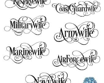 SVG & DXF design - Set of 7 - Military Wife, Army, Reserve, Coast Guard, Marine, Navy, Air Force Wife cut files (Cricut \ Silhouette)