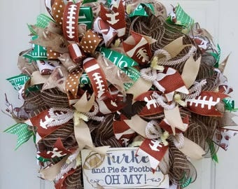 Football Wreath, Thanksgiving Wreath, Turkey Wreath, Sports Wreath