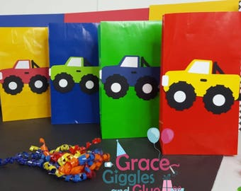 10 Monster Truck Themed Favor Bags, Monster Truck Party Bags