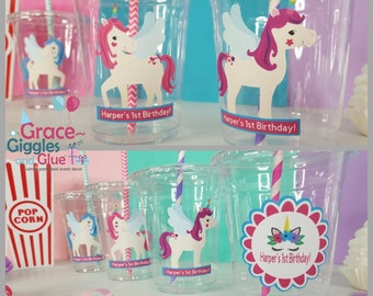 12 Personalized Unicorn Inspired Party Cups with Striped Straws and Lids