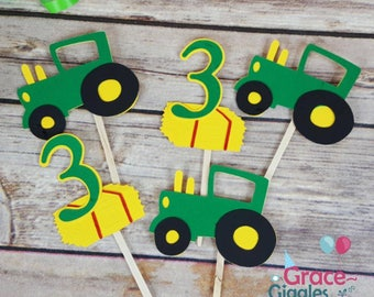 12 Tractor Themed Cupcake  Toppers