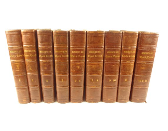 1839 Benedicti XIV Opus (Works). 14 books in 9 volumes, large set, handsome spines