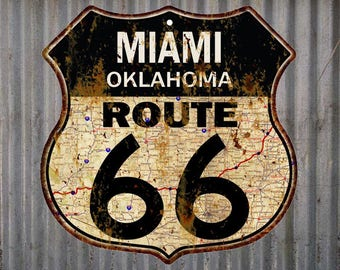 Miami, Oklahoma Route 66 Vintage Look Rustic 12X12 Metal Shield Sign S122207