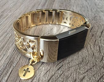 Gold Color Band for Fitbit Charge 2 Fitness Activity Tracker Christian Cross Metal Fitbit Charge 2 Bracelet Adjustable Tech Jewelry Band