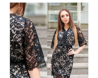 Black Lace Dress /  Elegant Dress / Women's Dresses / Lace Womens Dress /  3/4 Sleeve Dress / Stylish Dress / Party Dress