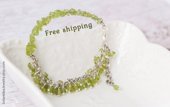 Peridot bracelet, Christmas gift for mom, Peridot jewelry, Green bracelet, Olivine bracelet, August birthstone bracelet