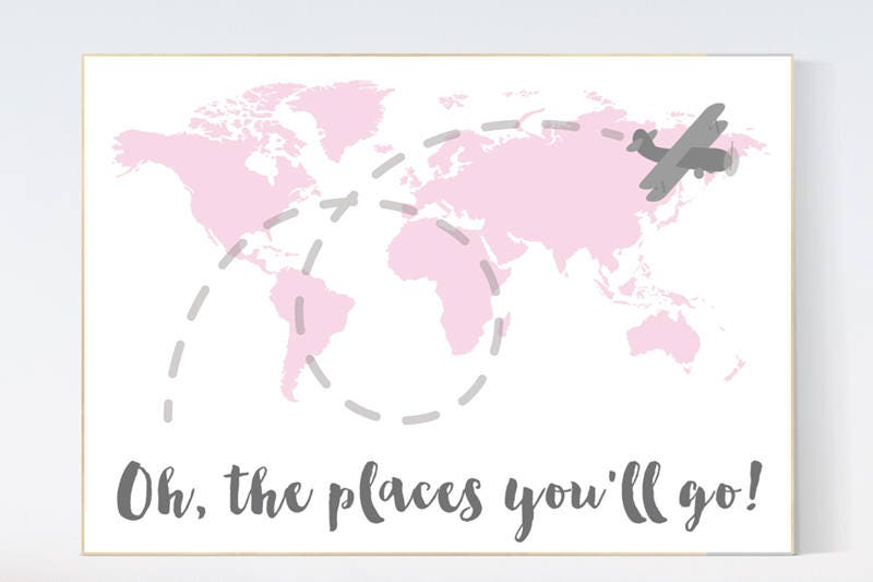 Pink nursery decor world map nursery oh the places youll go pink nursery decor world map nursery oh the places youll go world map wall art travel nursery decornursery decor girls pink gray gumiabroncs Image collections