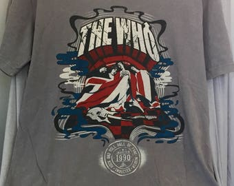 The Who Vintage T shirt, Rock and Roll Upcycled Tee, Stone washed Gray size L T shirt, gift for boyfriend, gift for girlfriend