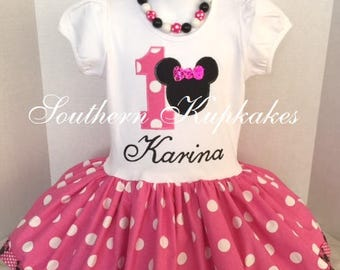 Minnie Mouse First 1st Birthday Disney Inspired Twirl Dress Custom Boutique Party All Sizes Pink White Black Polka Dots Second Third 2nd 3rd